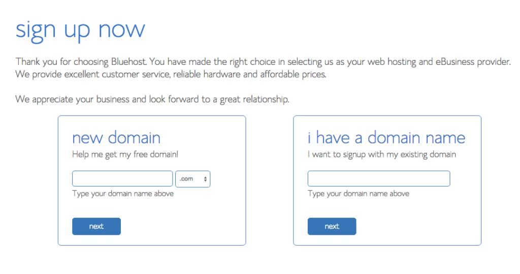 bluehost domain start a blog