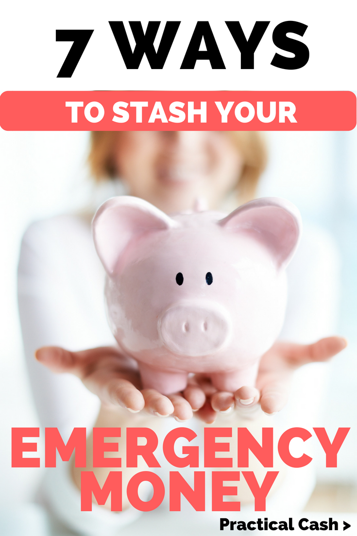 Wondering where to stash your emergency fund? 7 options for places to put your emergency money #savemoney #personalfinance #frugalliving #emergency #prepper #prepping
