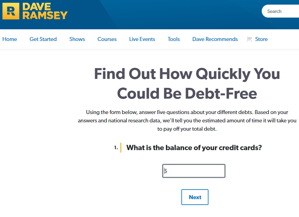 dave ramsey debt payoff calculator