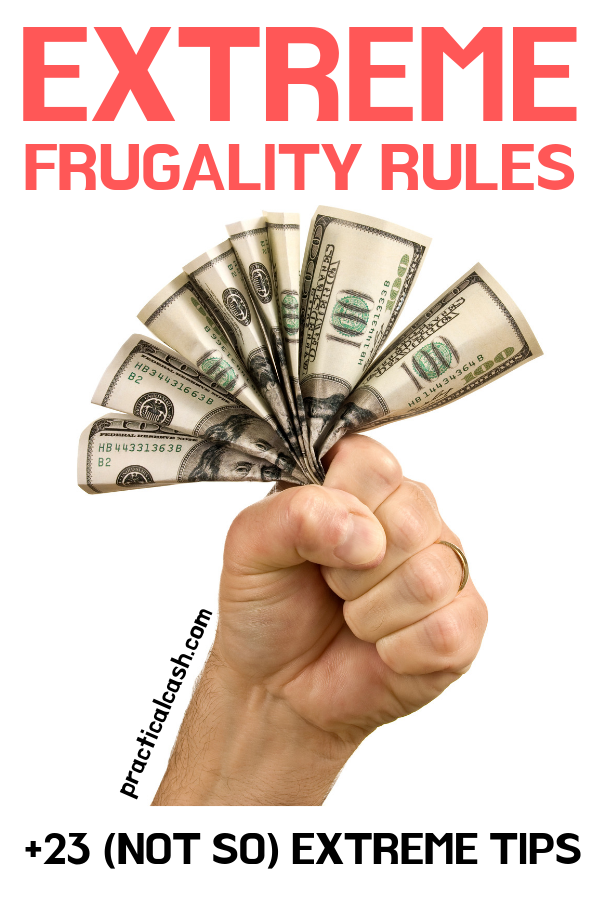 extremely frugal person's fist holding money