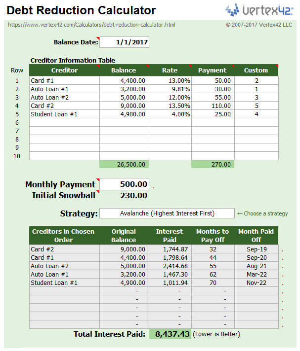 vertex 42 debt reduction calculator